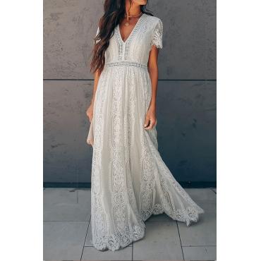 Lovely Party V Neck Patchwork White Floor Length Evening Dress
