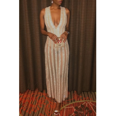 Lovely Party Striped Gold Floor Length Evening Dress