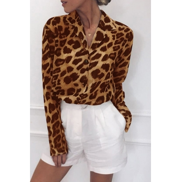 Lovely Work Leopard Printed Yellow Blouse