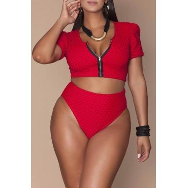 Lovely Zipper Design Red Plus Size Two-piece Swimwear