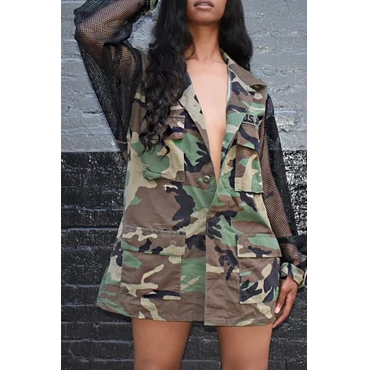 Lovely Casual Turndown Collar Camouflage Printed Coat