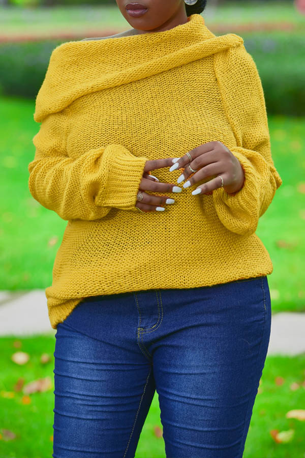 Lovely Trendy Dew Shoulder Yellow Sweater