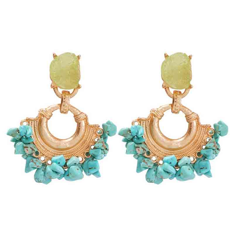 Lovely Retro Hollow-out Blue Alloy Earring