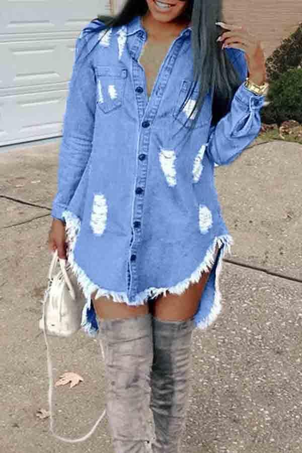Daily Dress Lovely Casual Turndown Collar Tassel Design Blue Mini Dress фото
