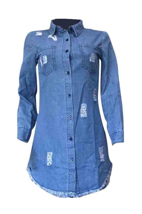 Lovely Casual Turndown Collar Tassel Design Blue Mini Dress