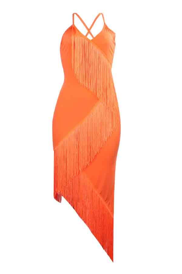 Lovely Trendy  Asymmetrical Tassel Design Orange Mid Calf Dress