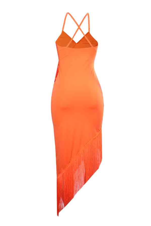 Lovely Trendy Asymmetrical Tassel Design Orange Mid Calf Dress