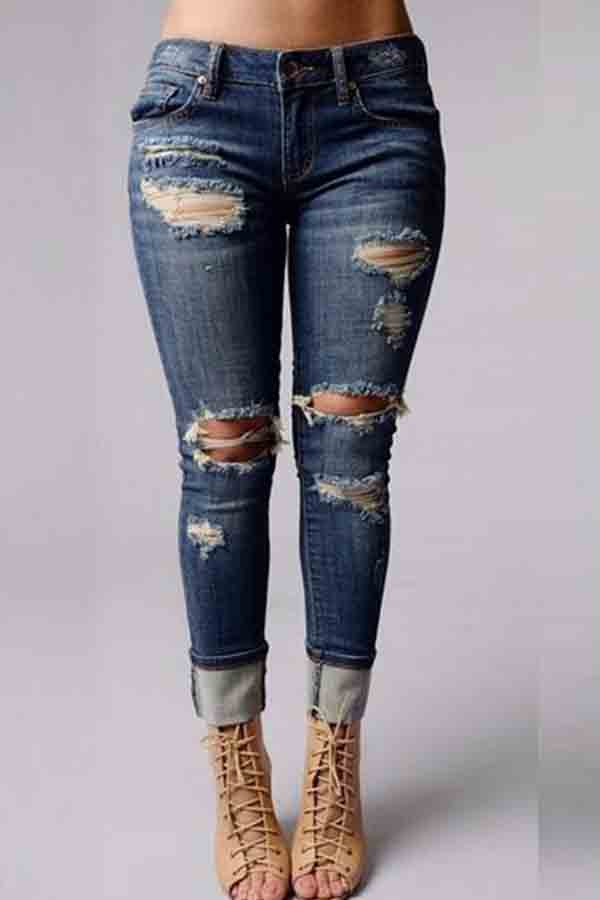 Lovely Casual Broken Holes Deep Blue Jeans