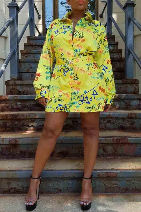 Lovely Casual Turndown Collar Printed Yellow Mini Dress