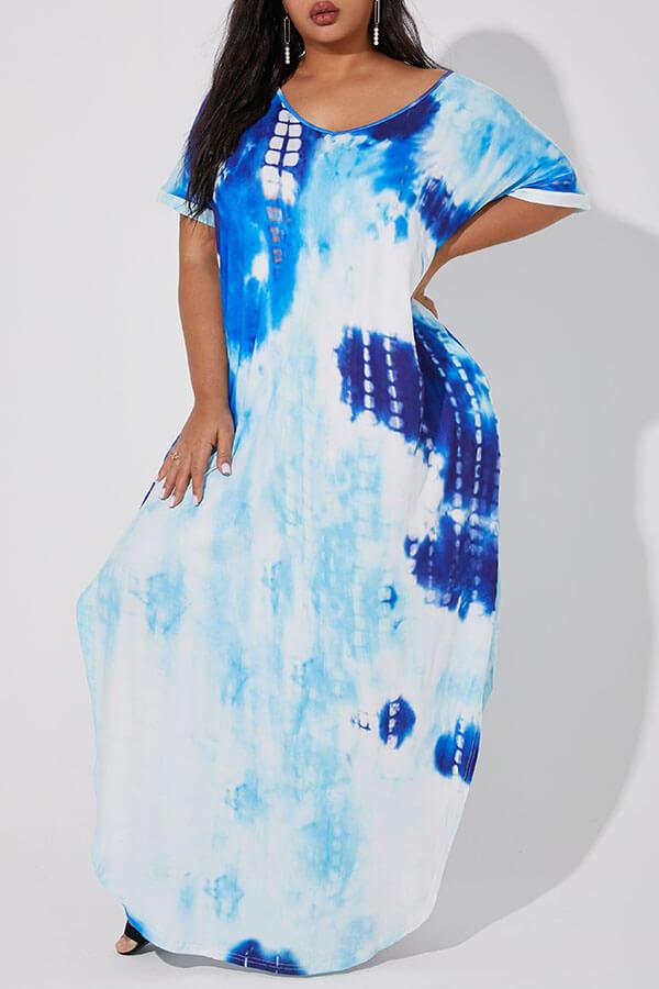 Lovely Casual Tie-dye Blue Ankle Length Plus Size Dress
