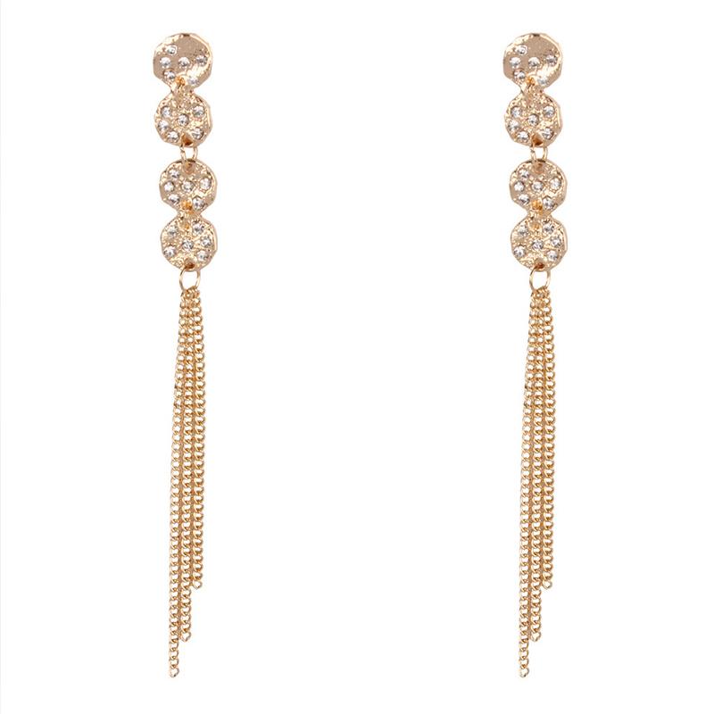 Lovely Trendy Tassel Design Gold Earring