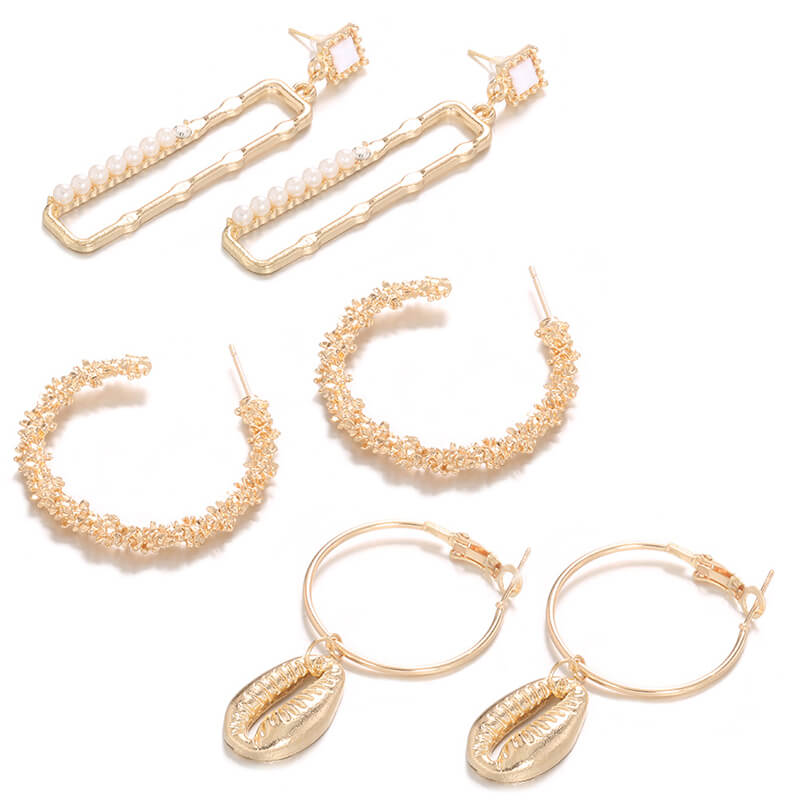Lovely Chic Three-piece Gold Earring