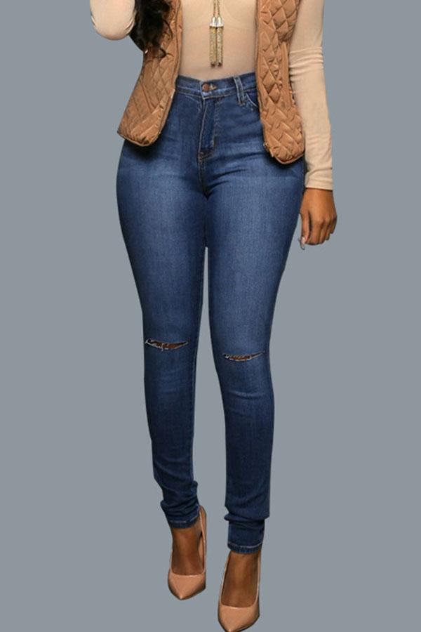 Lovely Trendy Zipper Design Broken Holes Deep Blue Jeans