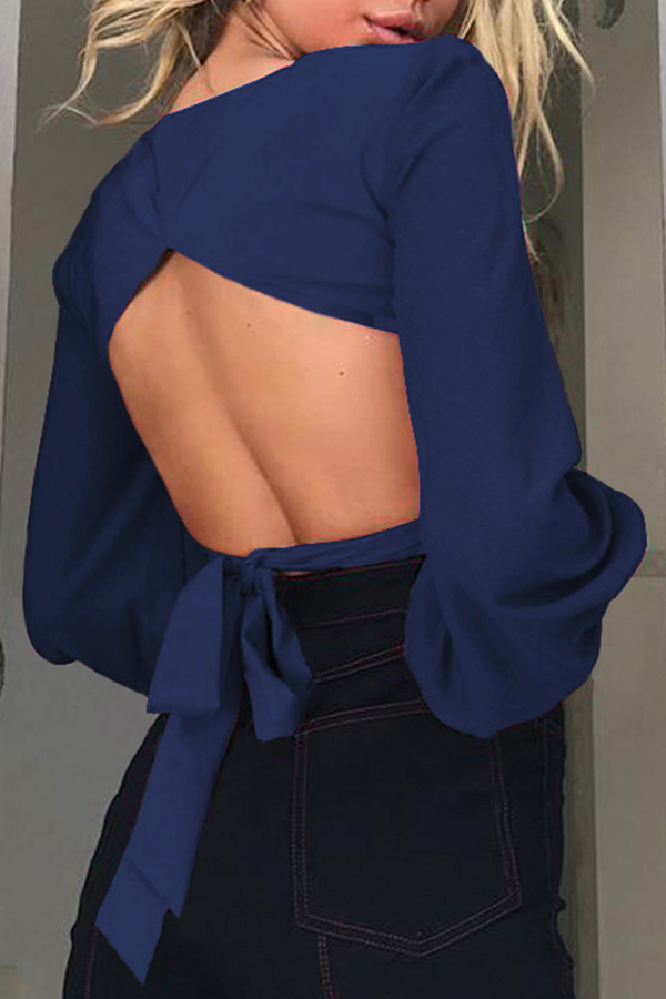 Lovely Trendy Hollow-out Backless Blue Blouse