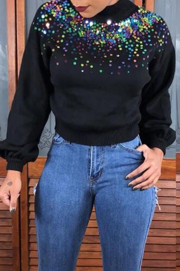 Lovely Trendy Turtleneck Sequined Decorative Black Sweater