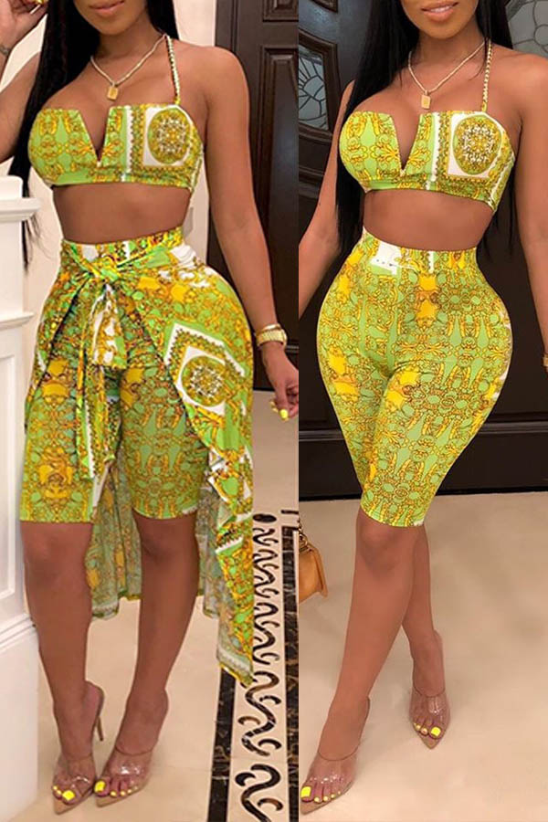 Lovely Trendy Printed Yellow Two-piece Shorts Set(With Shawl)