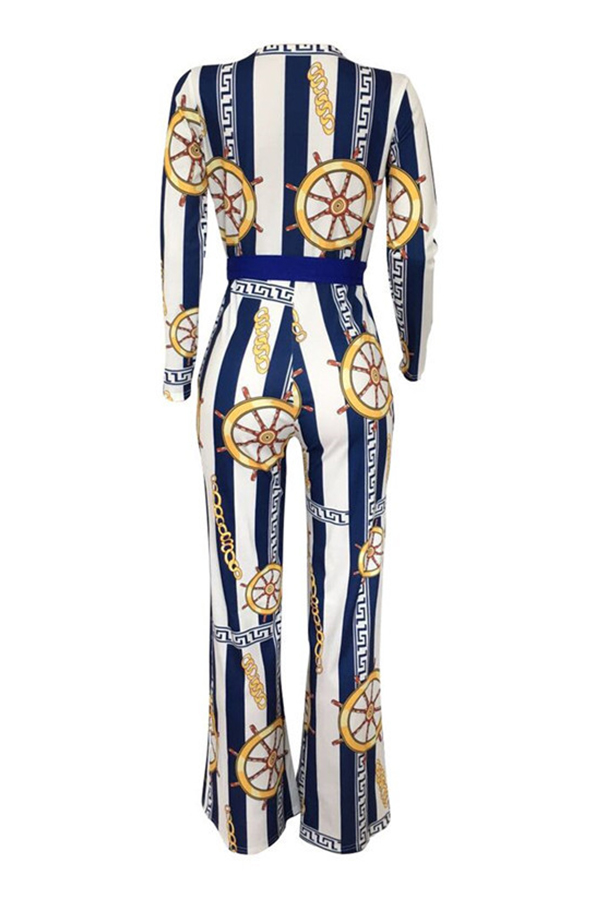 Lovely Casual Printed Blue One-piece Jumpsuit