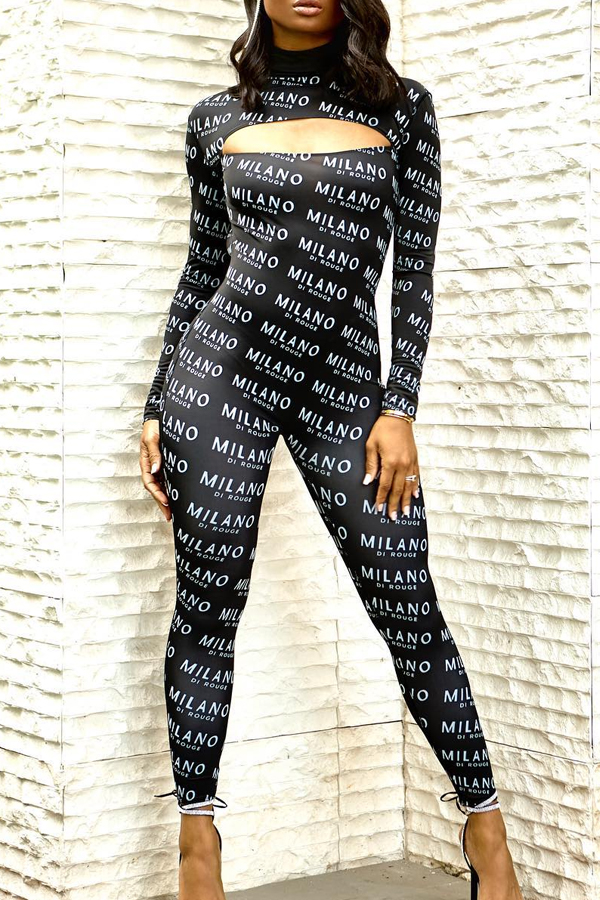 Lovely Sexy Letter Printed Black One-piece Jumpsuit