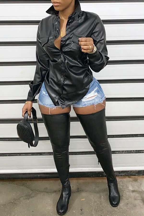 Lovely Trendy Turndown Collar Black Blouse