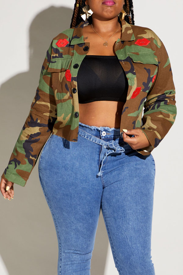 Lovely Casual Lip Camouflage Printed Plus Size Coat