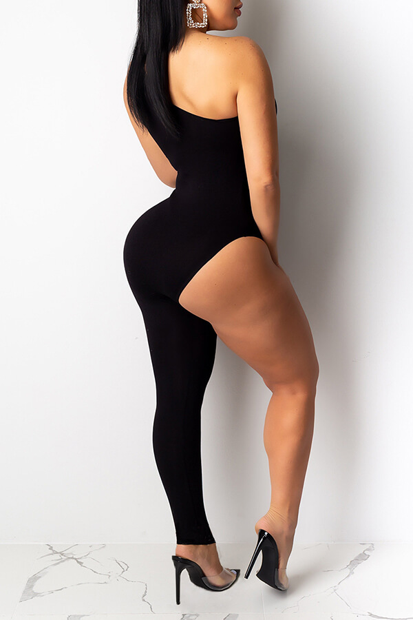 Lovely Sexy Asymmetrical Black One-piece Jumpsuit