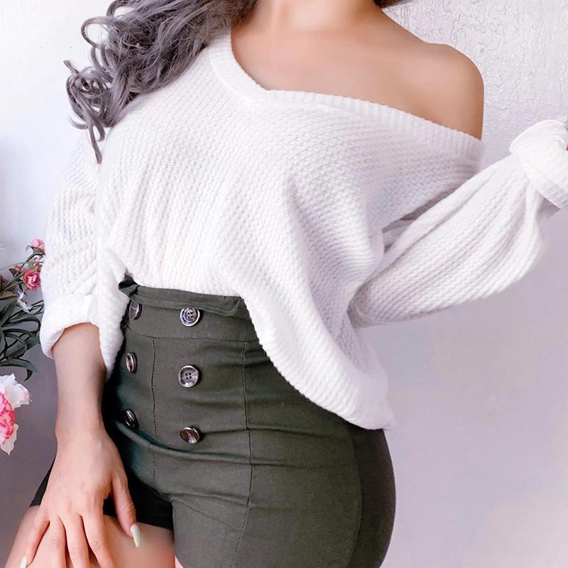 Lovely Trendy V Neck White Sweater