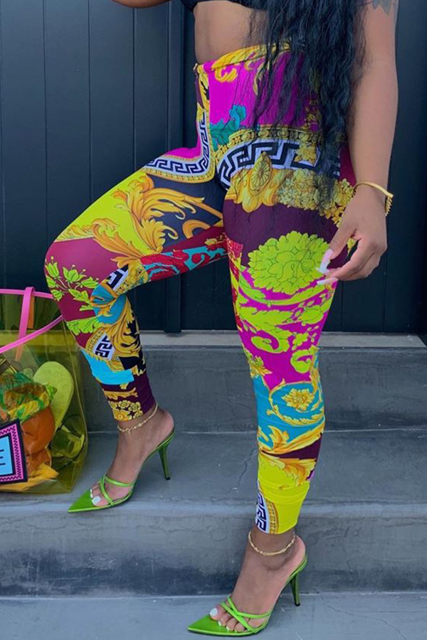 Lovely Casual Printed Purple Pants