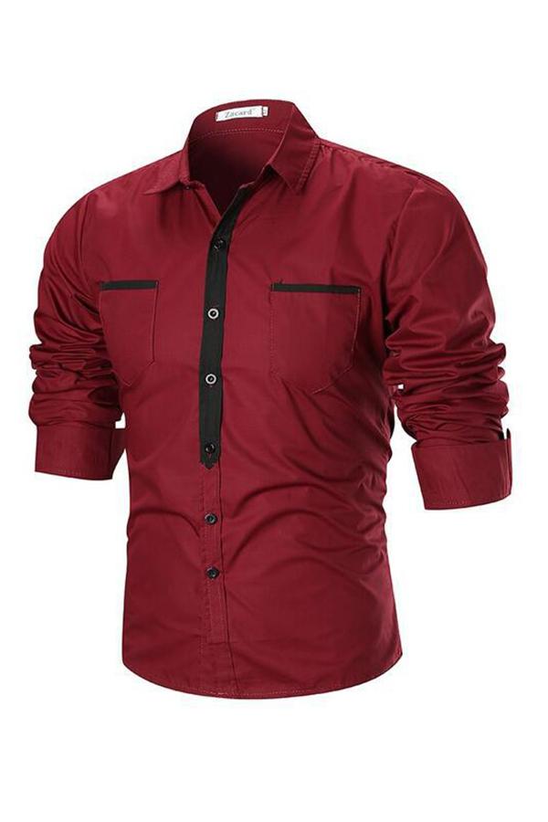 Lovely Trendy Turndown Collar Red Shirt