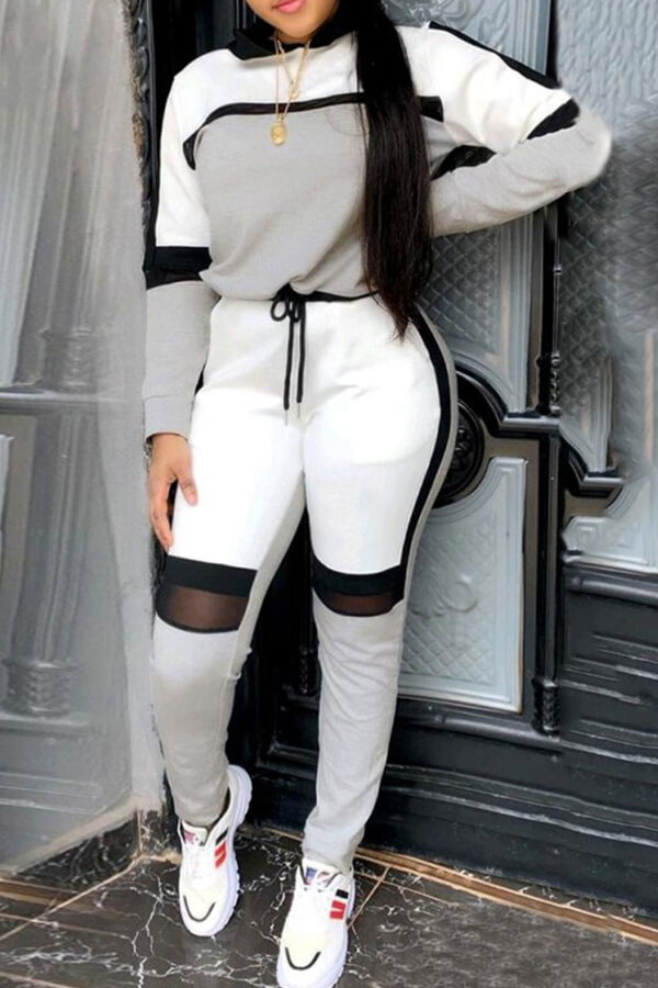 Lovely Sportswear Hooded Collar Patchwork Grey Two-piece Pants Set