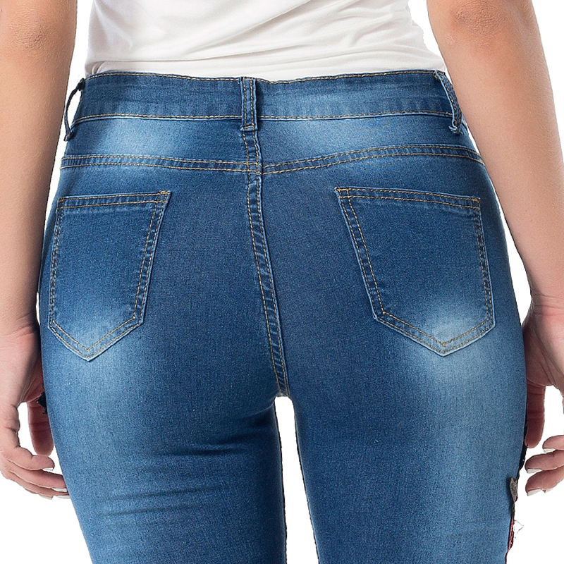 Lovely Trendy Embroidered Design Royal Blue Jeans
