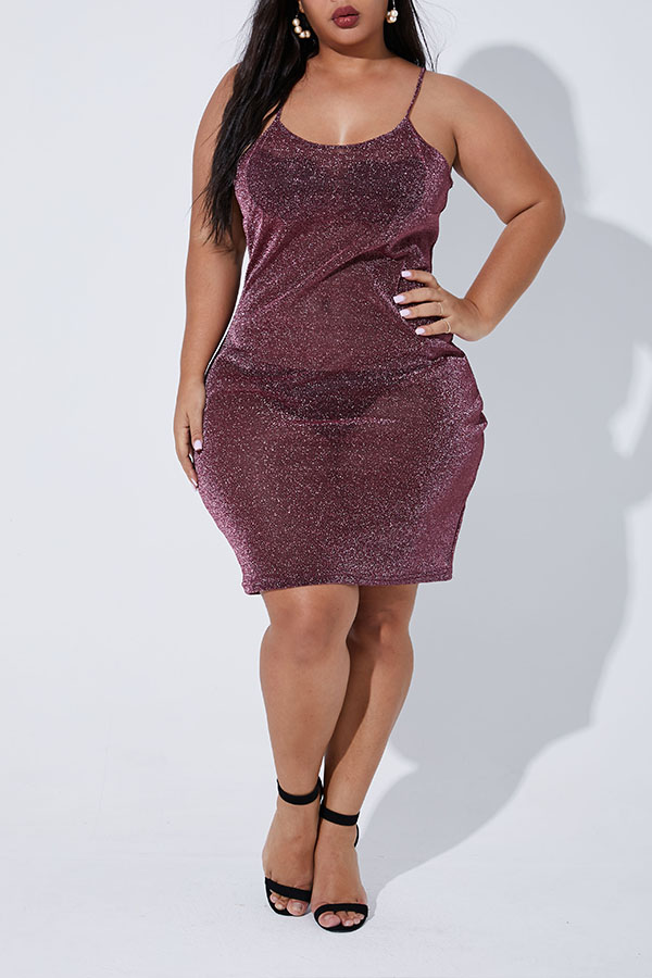 Lovely Casual Sleeveless Wine Red Knee Length Plus Size Dress(Without Lining)