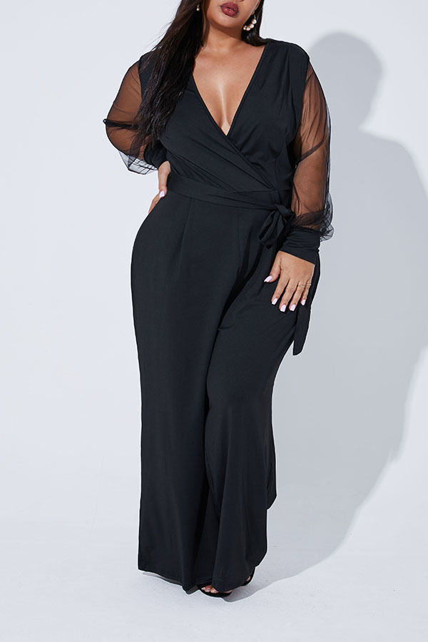 Lovely Casual V Neck Patchwork Black Plus Size One-piece Jumpsuit