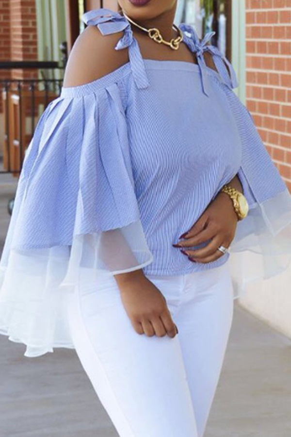 Lovely Chic Striped Blue Blouse