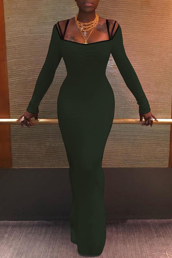 Lovely Sexy Spaghetti Straps Skinny Army Green Ankle Length Dress