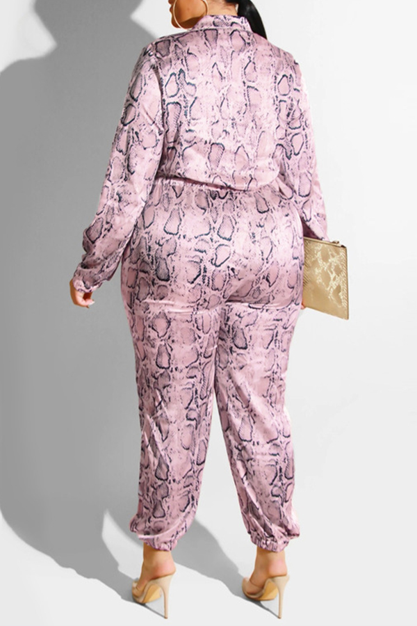 Lovely Casual Printed Purple Plus Size One-piece Jumpsuit