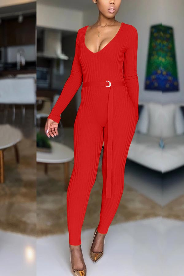Lovely Trendy Skinny Red One-piece Jumpsuit