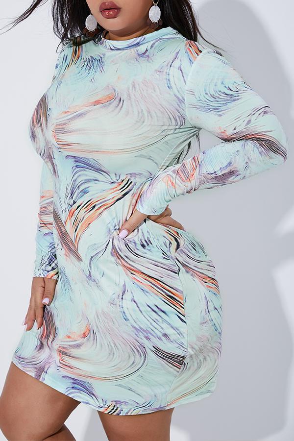 Lovely Casual Half A Turtleneck Printed Multicolor Plus Size Mini Dress