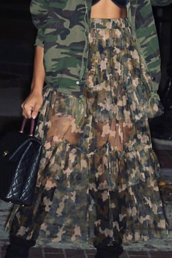 Lovely Casual Camouflage Printed Ankle Length Cake Skirt