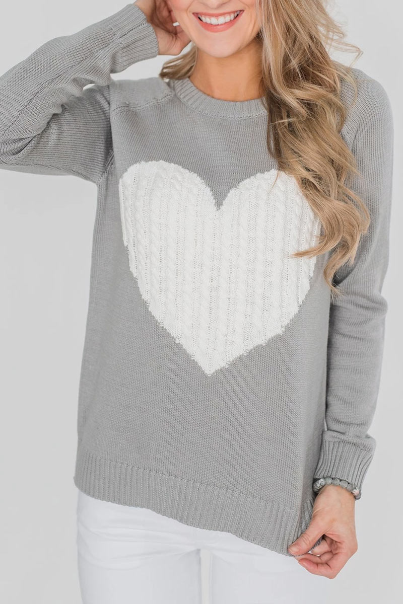 Lovely Round Neck Heart-shaped Design Grey  Sweater