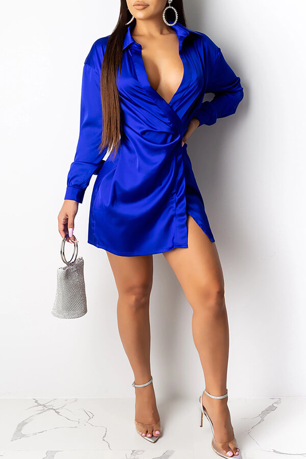 Lovely Trendy Turndown Collar Blue Mini Dress