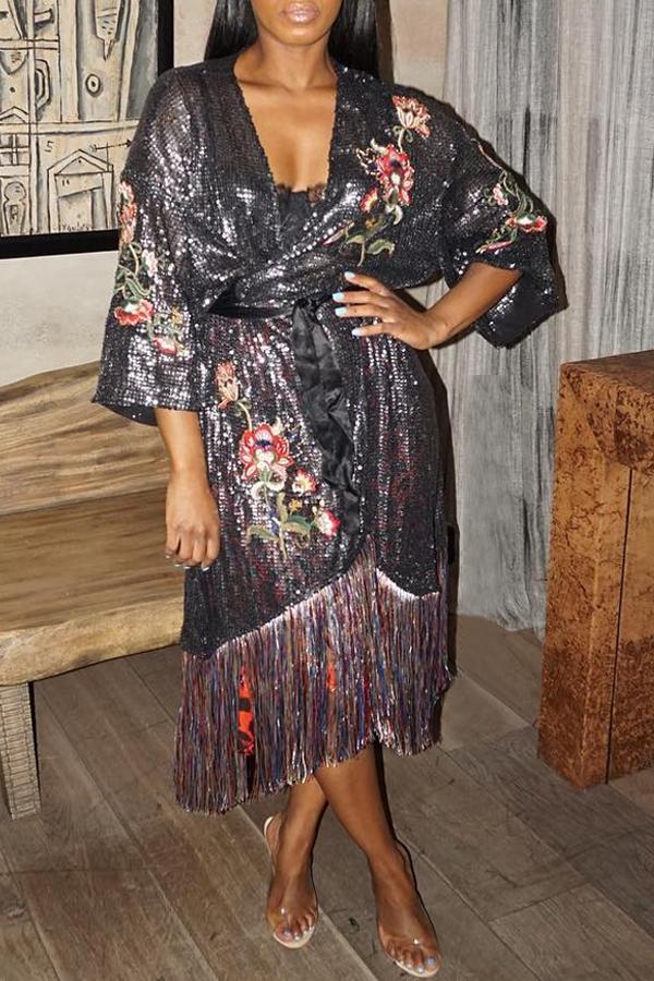 Lovely Casual Tassel Design Black Mid Calf Dress