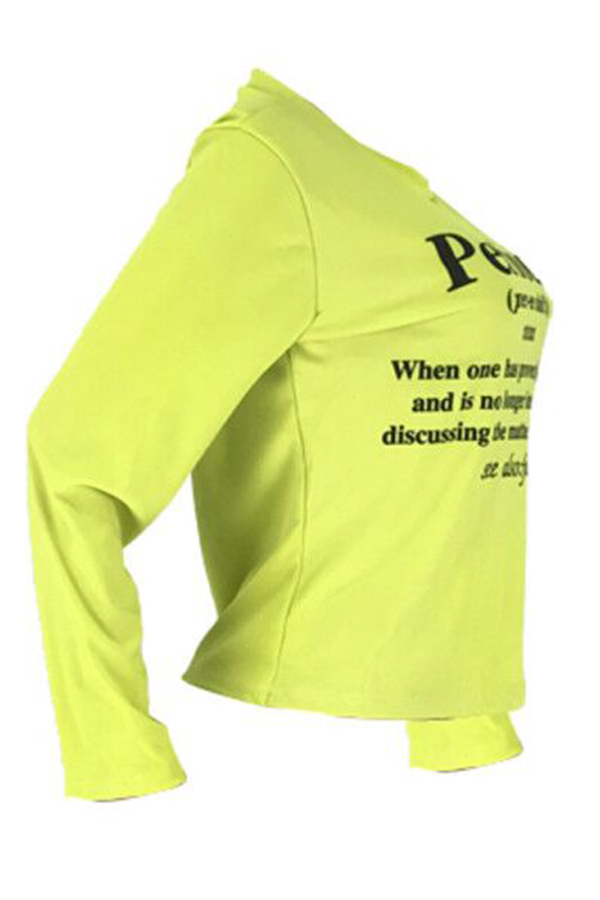 Lovely Casual Letter Printed Yellow T-shirt