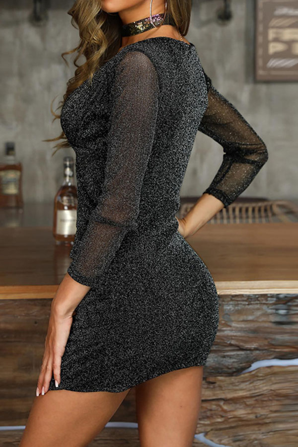 Lovely Trendy Patchwork Skinny Black Mini Dress