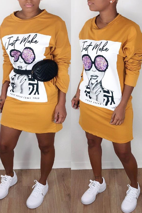 Lovely Casual Printed Yellow Mini Dress