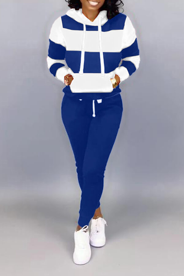 Lovely Casual Hooded Collar Patchwork Blue Two-piece Pants Set фото