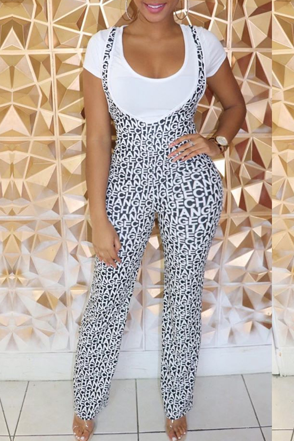 Lovely Casual Letter Printed Black One-piece Jumpsuit