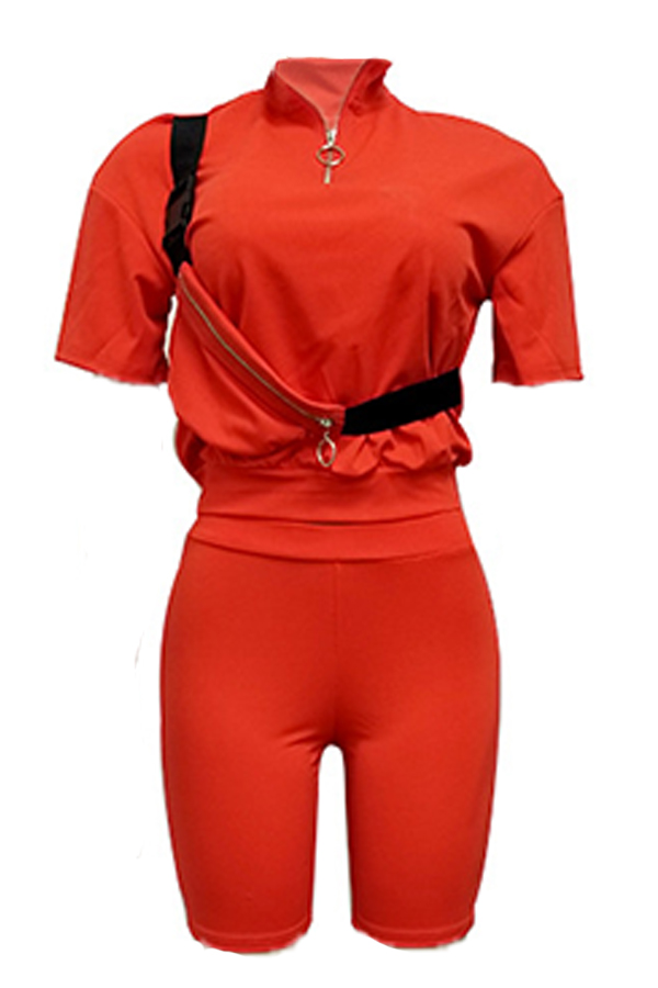 Lovely Casual Half A Turtleneck Red Two-piece Shorts Set