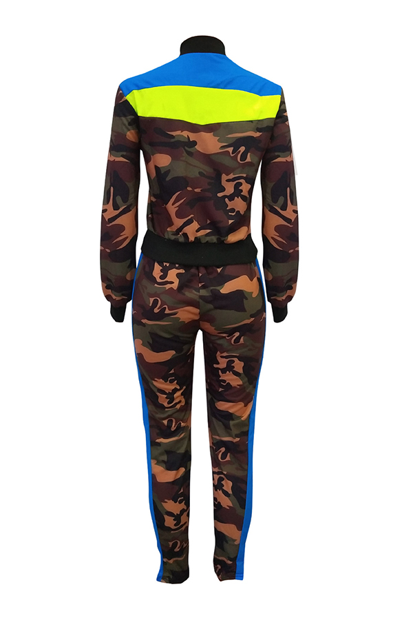 Lovely Casual Mandarin Collar Camouflage Printed Green Two-piece Pants Set