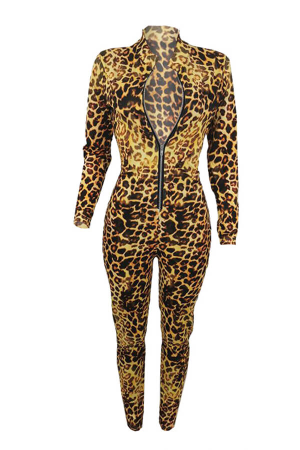 Lovely Sexy Leopard Printed Skinny Yellow One-piece Jumpsuit