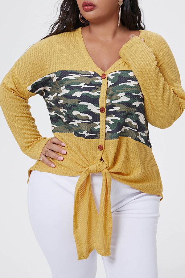 Lovely Casual Patchwork Yellow Plus Size Blouse